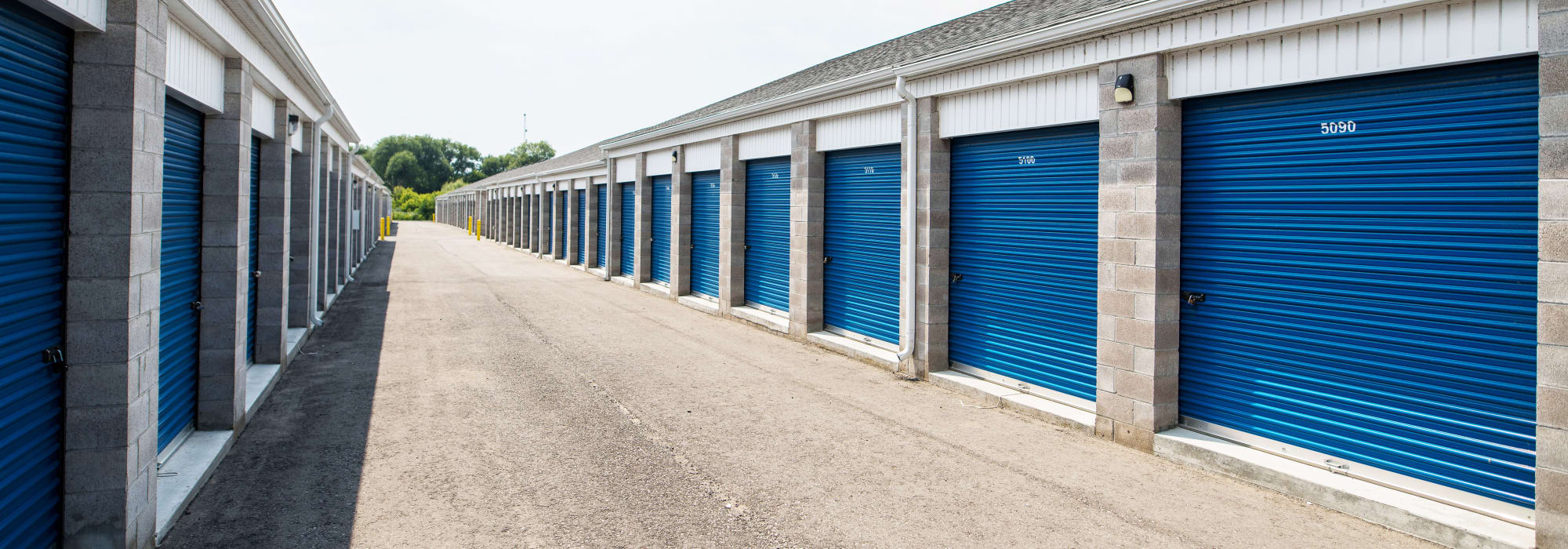 A wide driveway at Apple Self Storage - Bowmanville in Bowmanville, Ontario