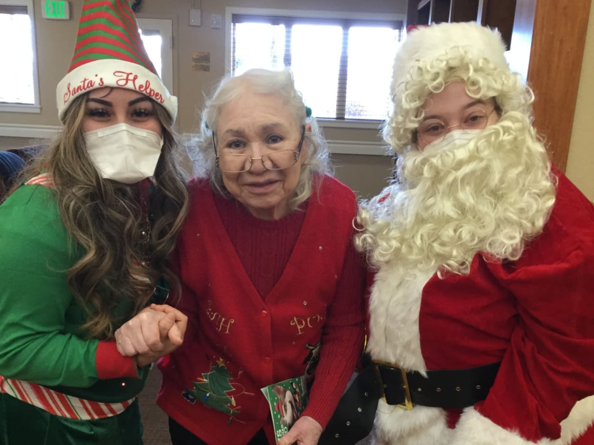 Dressed up for Christmas at Seven Lakes Memory Care in Loveland, Colorado