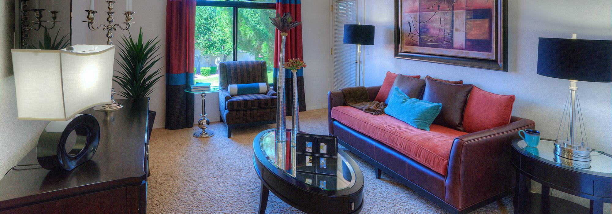 Luxury living room at San Cervantes in Chandler, Arizona