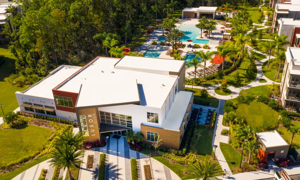 Aerial view of the community at Luxor Club in Jacksonville, Florida
