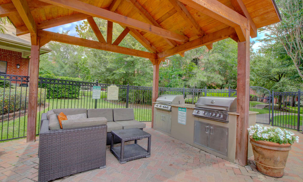 Pergola with modern bbq area at The Park at Research Forest in The Woodlands, Texas
