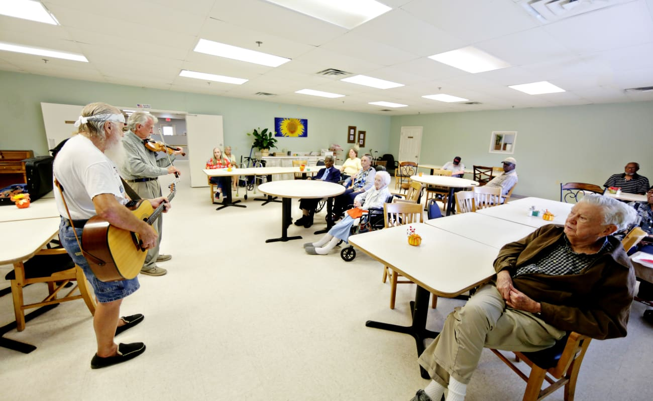 Residents enjoying a concert at Providence Assisted Living in Cleveland, Mississippi.