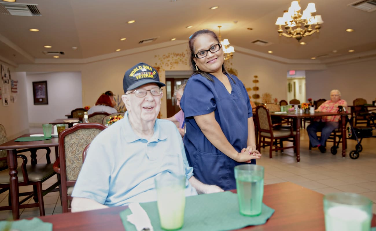 A resident excited for his meal at Providence Assisted Living in Springdale, Arkansas.