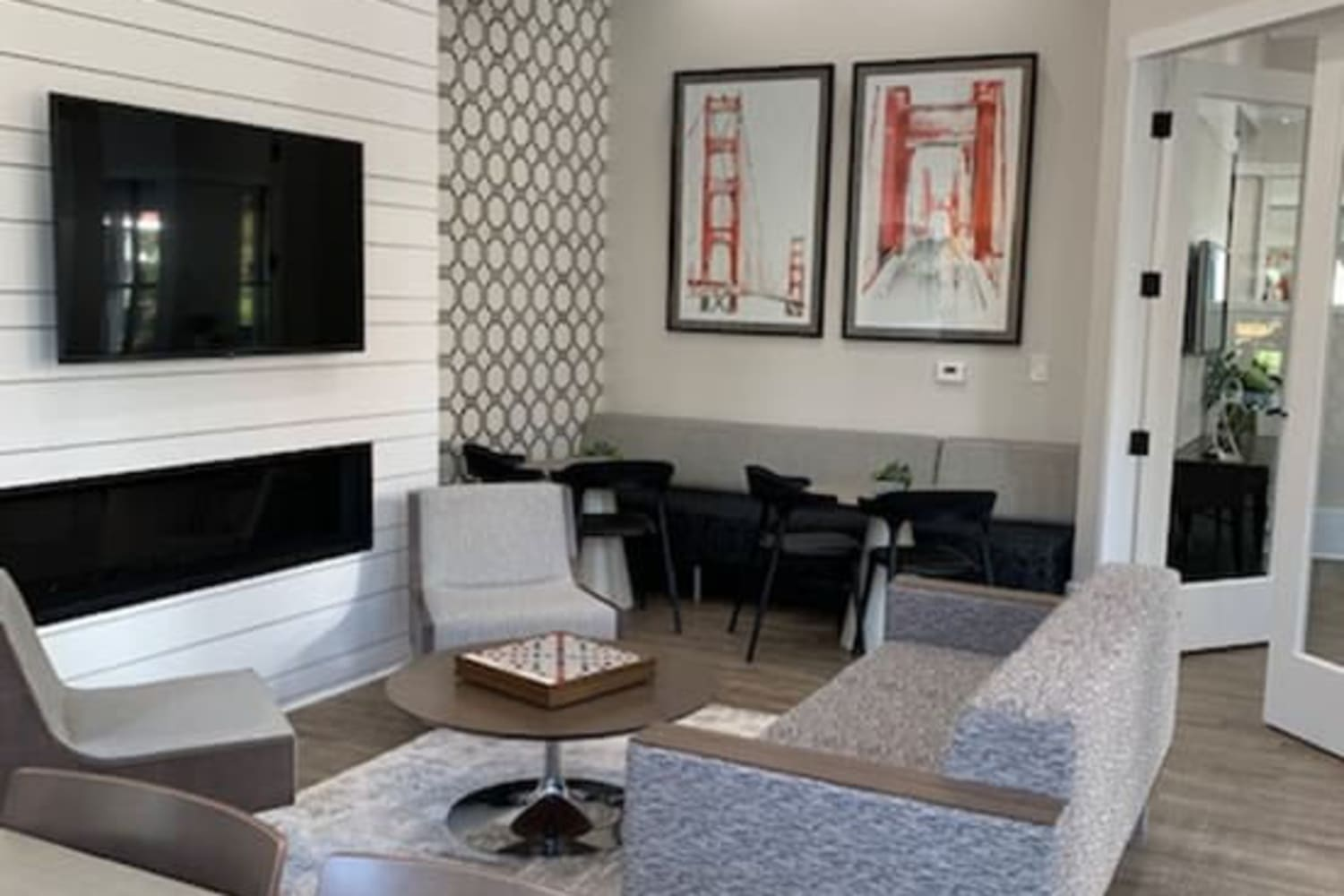 Clubhouse seating and fireplace at Cotton Wood Apartments in Dublin, California