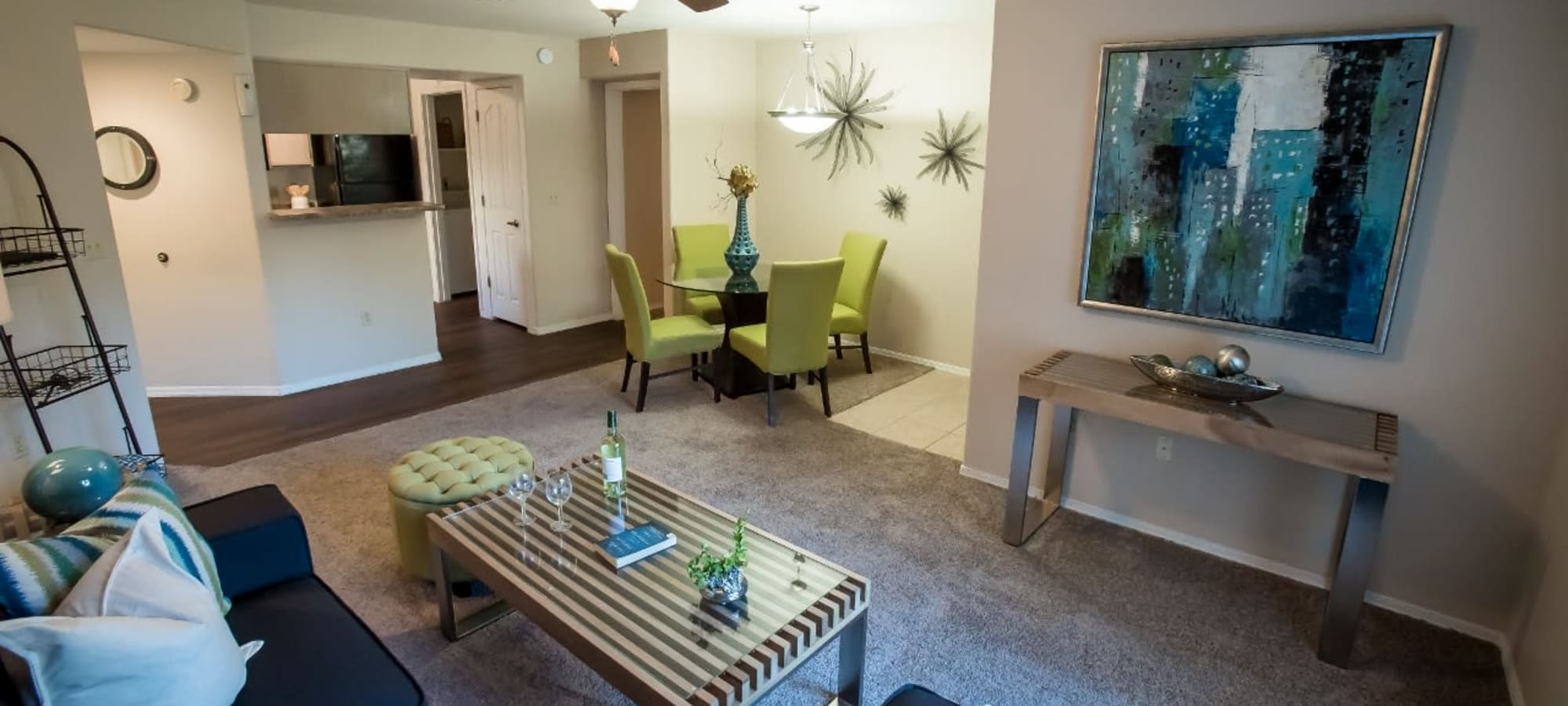 Dining and living room at The Palms on Scottsdale in Tempe, Arizona
