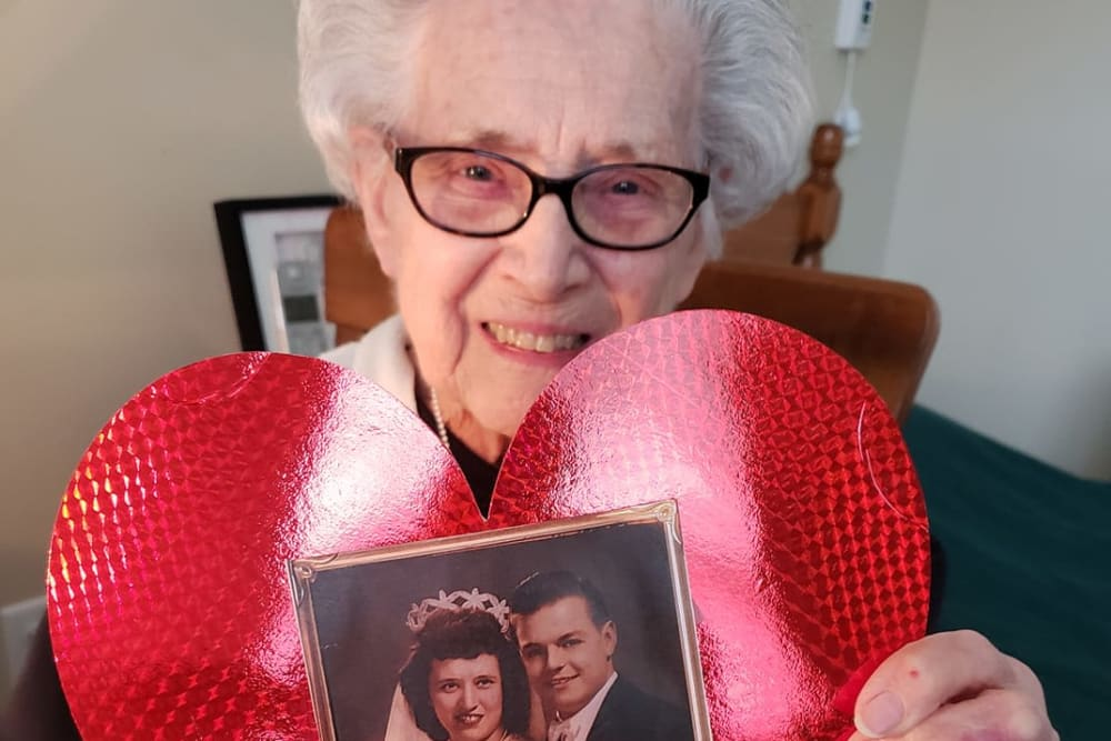 A resident with a valentine at Brooklyn Pointe in Brooklyn, Ohio