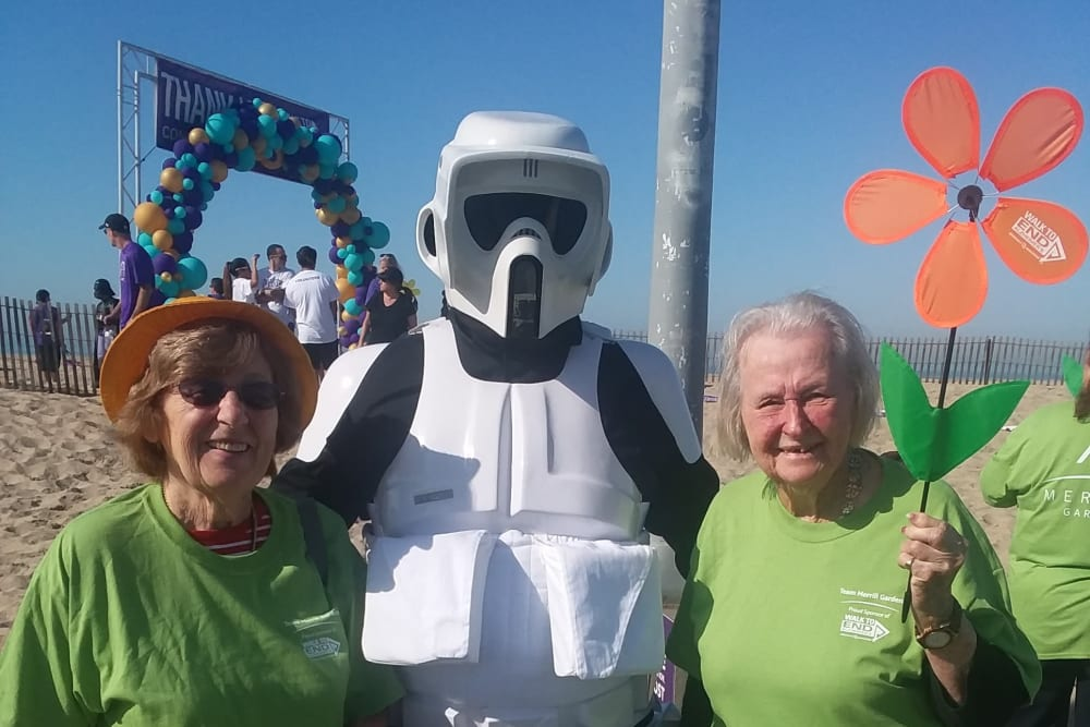 Resident at the Alzheimer's Walk near Merrill Gardens at Huntington Beach in Huntington Beach, California