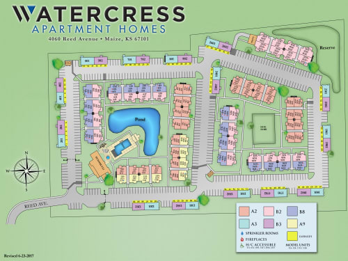 Site map for Watercress Apartments in Maize, Kansas
