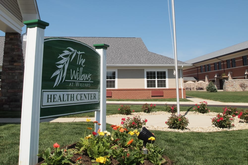 Landscaping and main sign at The Willows at Willard in Willard, Ohio