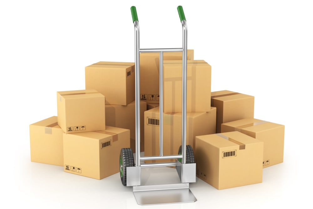 Hand truck and boxes at Envy Self-Storage & RV in Gilbert, Arizona