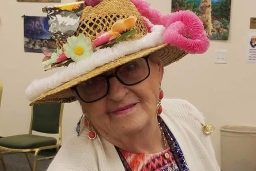 A resident with a fun hat on at The Grande in Brooksville, Florida