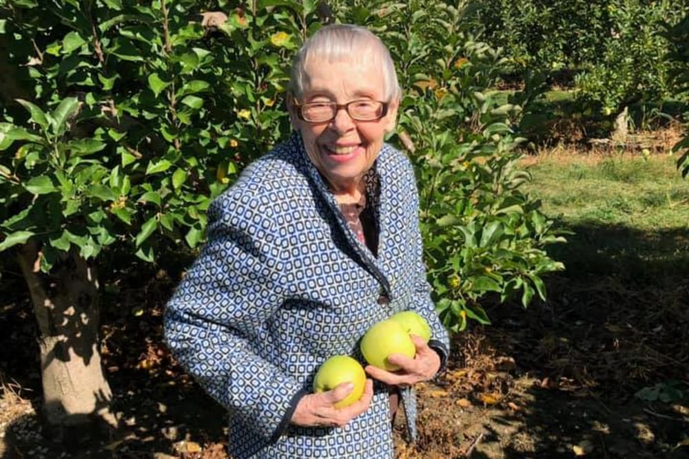 A resident picking fruit at Brentwood at LaPorte in La Porte, Indiana