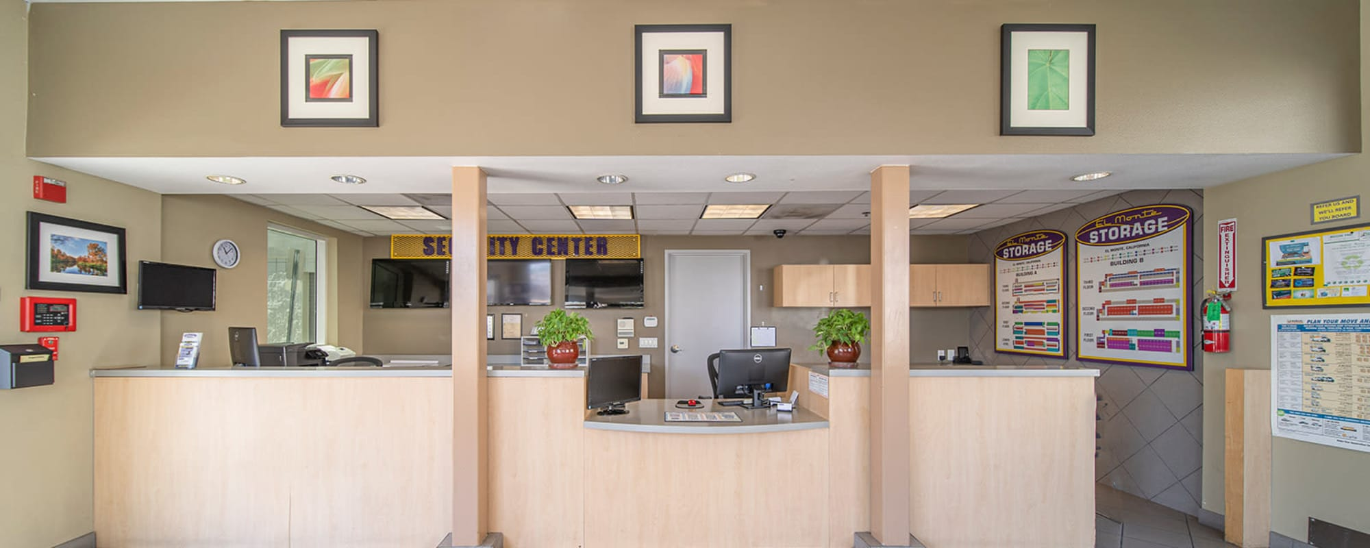 The front office desk at El Monte Storage in El Monte, California
