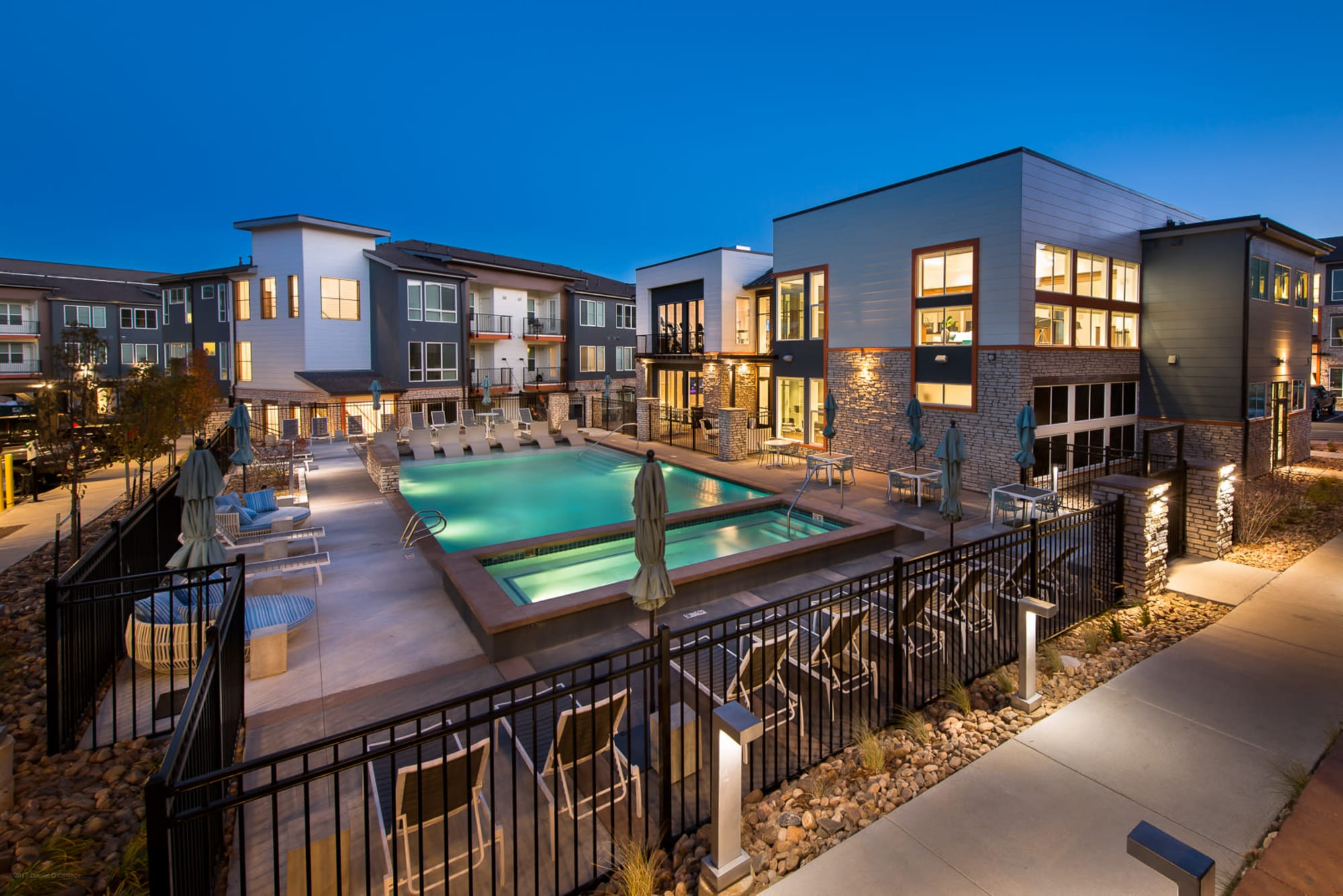 The pool at Elevate on a warm summer evening.