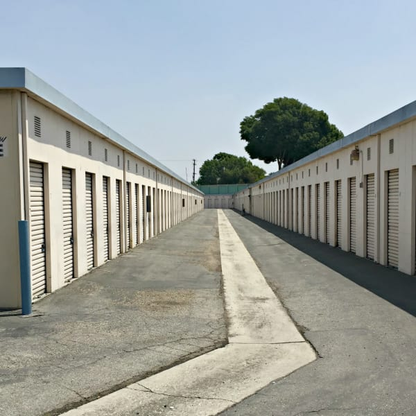 Outdoor storage units at StorQuest Self Storage in Lakewood, California