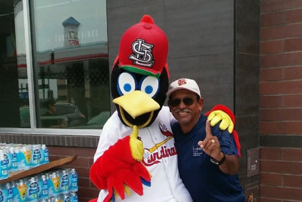 Wale and Fredbird posing for a photograph