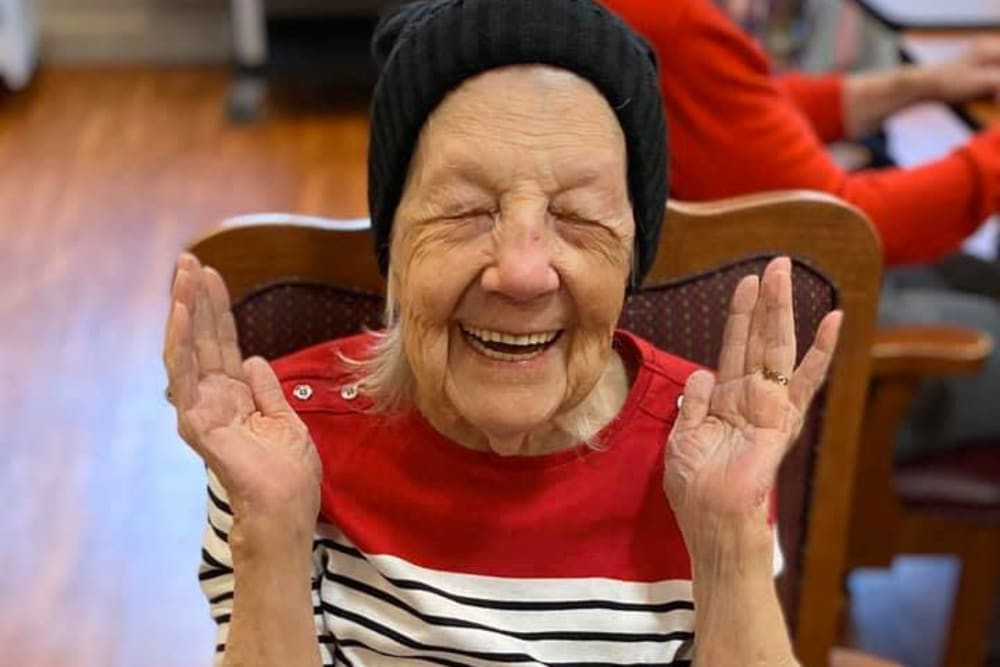 A very happy resident at Brentwood at Niles in Niles, Michigan