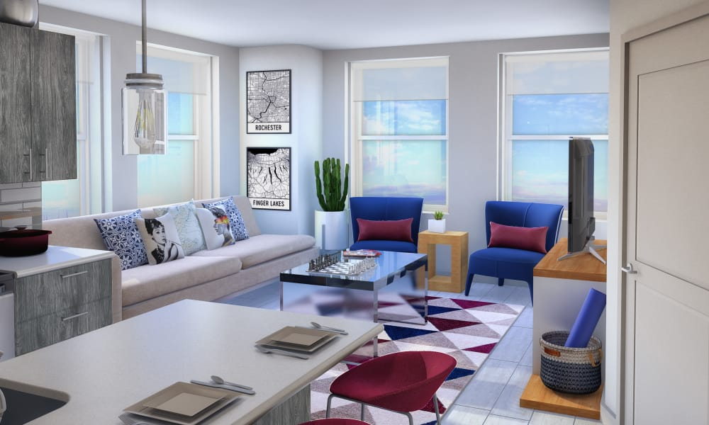 Spacious living room at The Linc in Rochester, NY