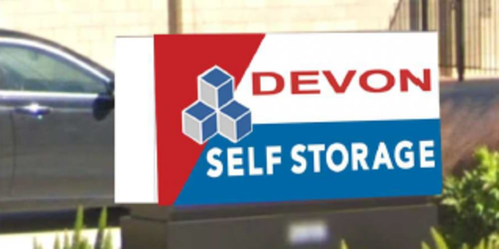 Sign for Devon Self Storage in Pearland, Texas