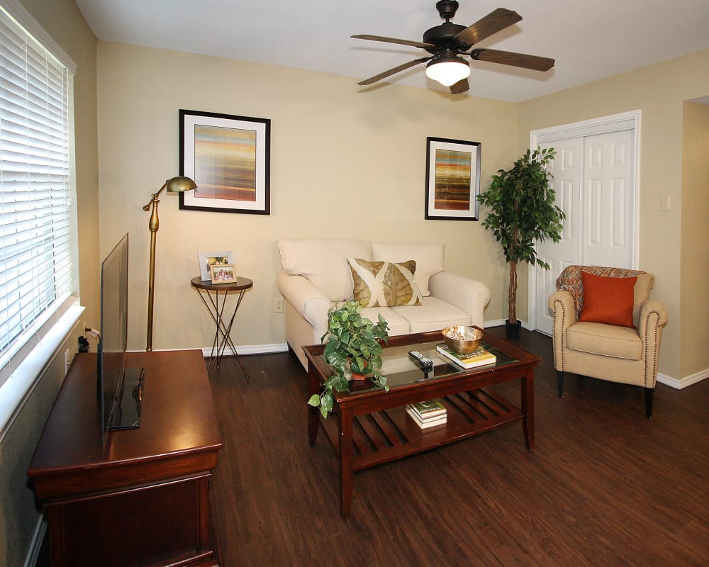 Furnished living room model at West Fork Village in Irving, Texas