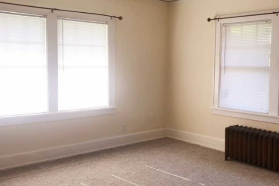 Large open living room in Des Moines, Iowa at University Avenue Apartments