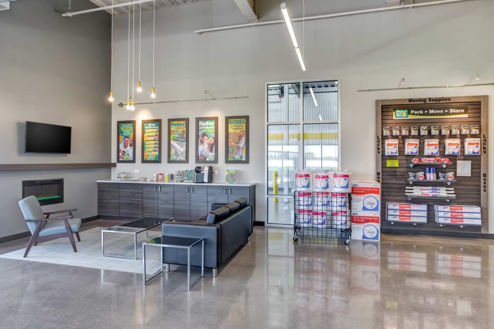 Leasing office waiting area and packing supplies for sale at Metro Self Storage in St. Charles