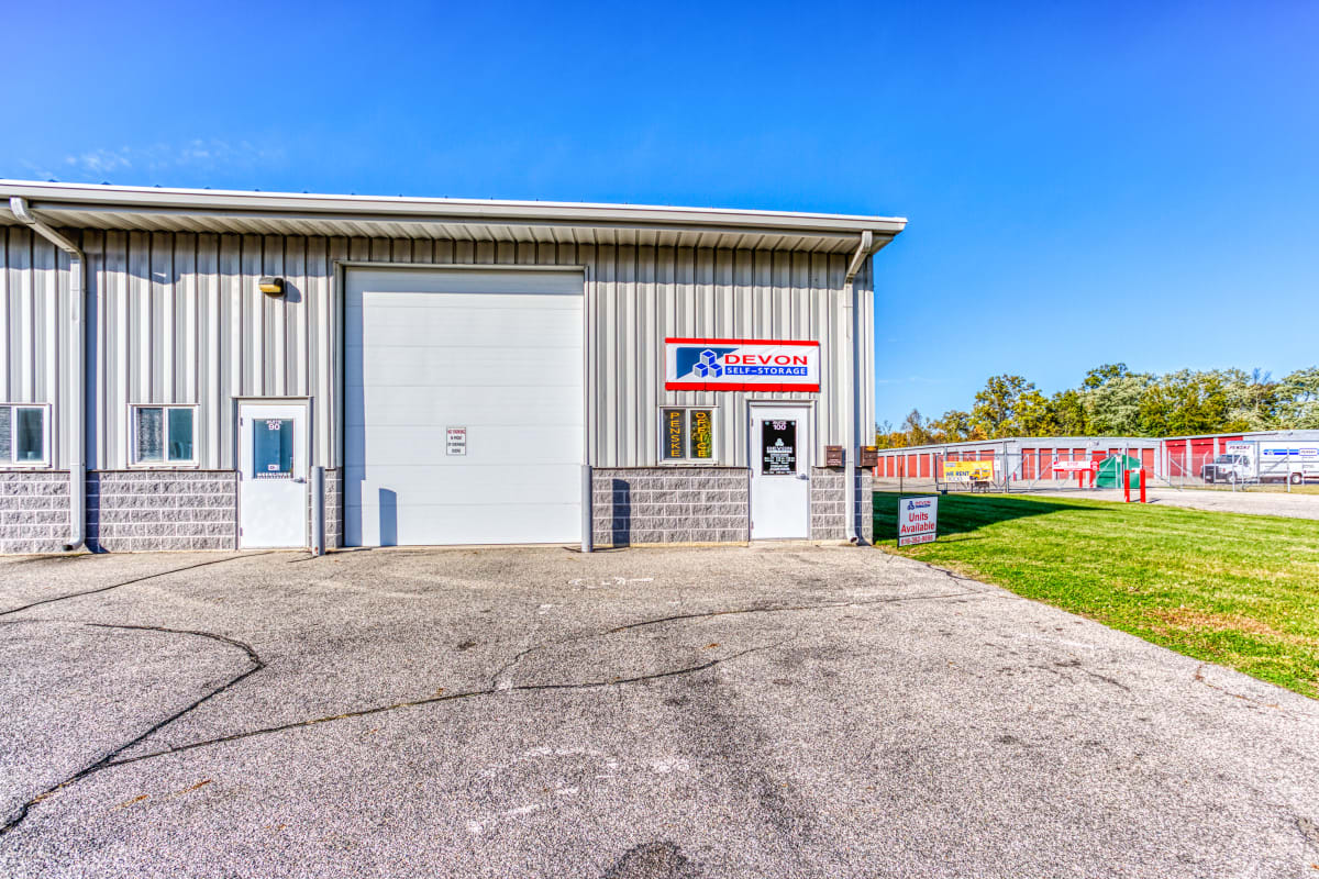 Leasing office for self storage and moving truck rentals in Holland, Michigan at Devon Self Storage