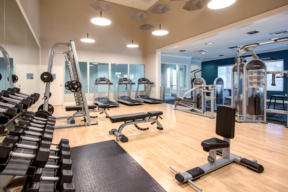 Free weights and more in the fitness center at Sofi Westview in San Diego, California