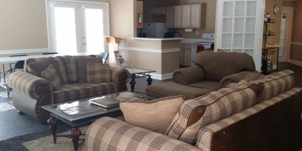 Comfortable seating in the clubhouse at Bristol Park Apartments in Jackson, Mississippi