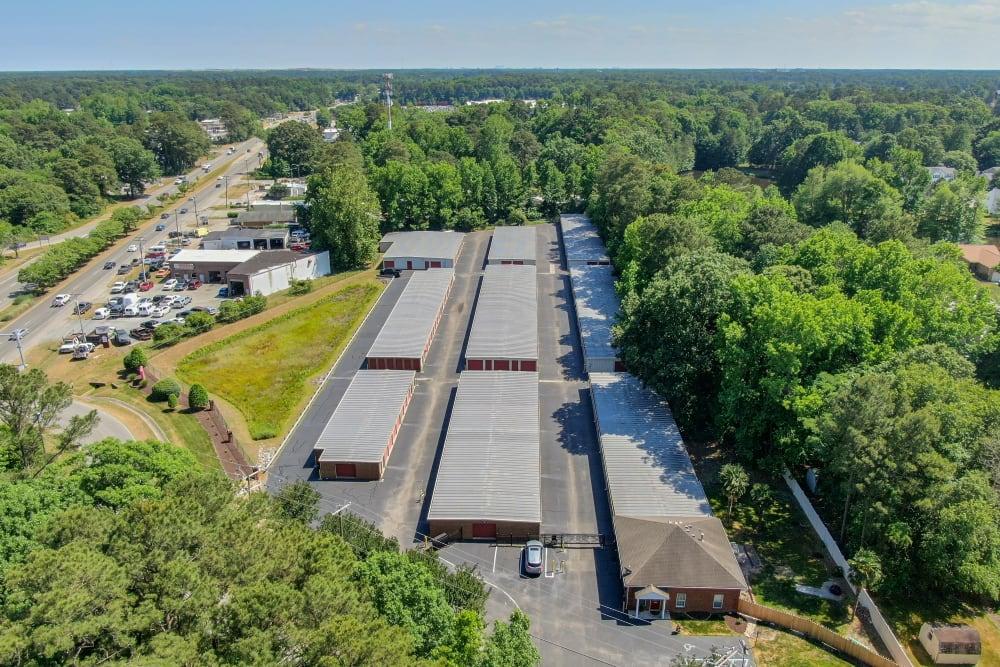 A birds-eye view of Victory Personal Storage in Yorktown, Virginia