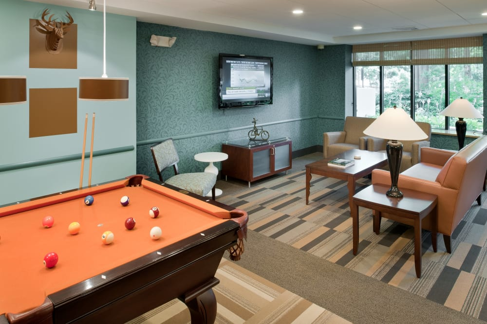Rendering of pool table in clubhouse at Camelot Court in Brighton, Massachusetts