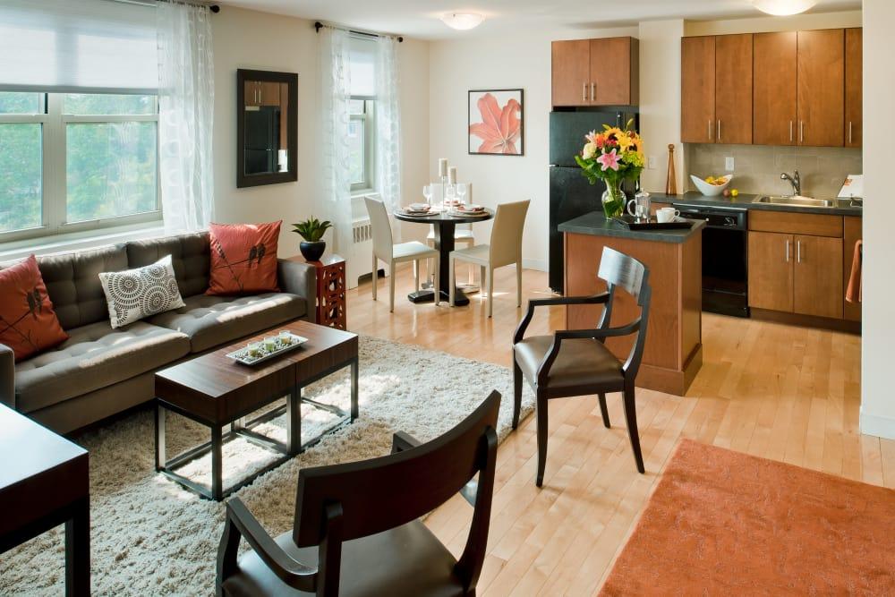 Lovely model living room at Camelot Court in Brighton, Massachusetts
