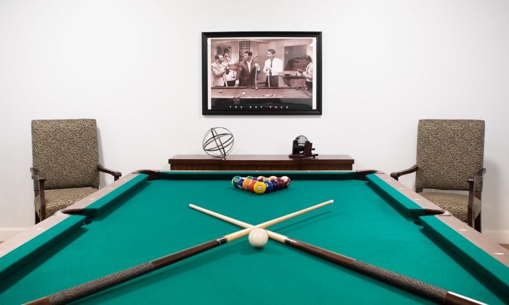 Billiards table in the clubhouse at Serenity in East Peoria, Illinois