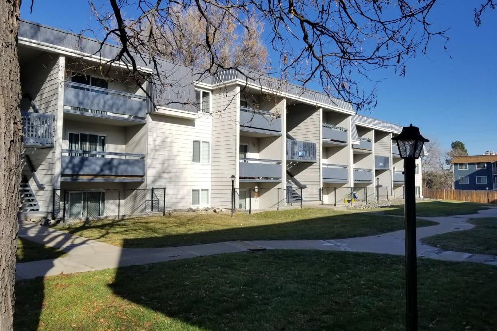 Exterior view of balconies at Park Terrace in Arvada, Colorado