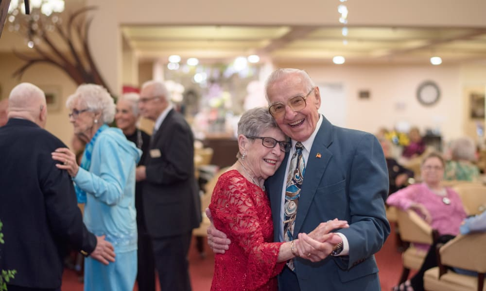 An elderly couple dancing at Chesterfield Heights in Midlothian, Virginia