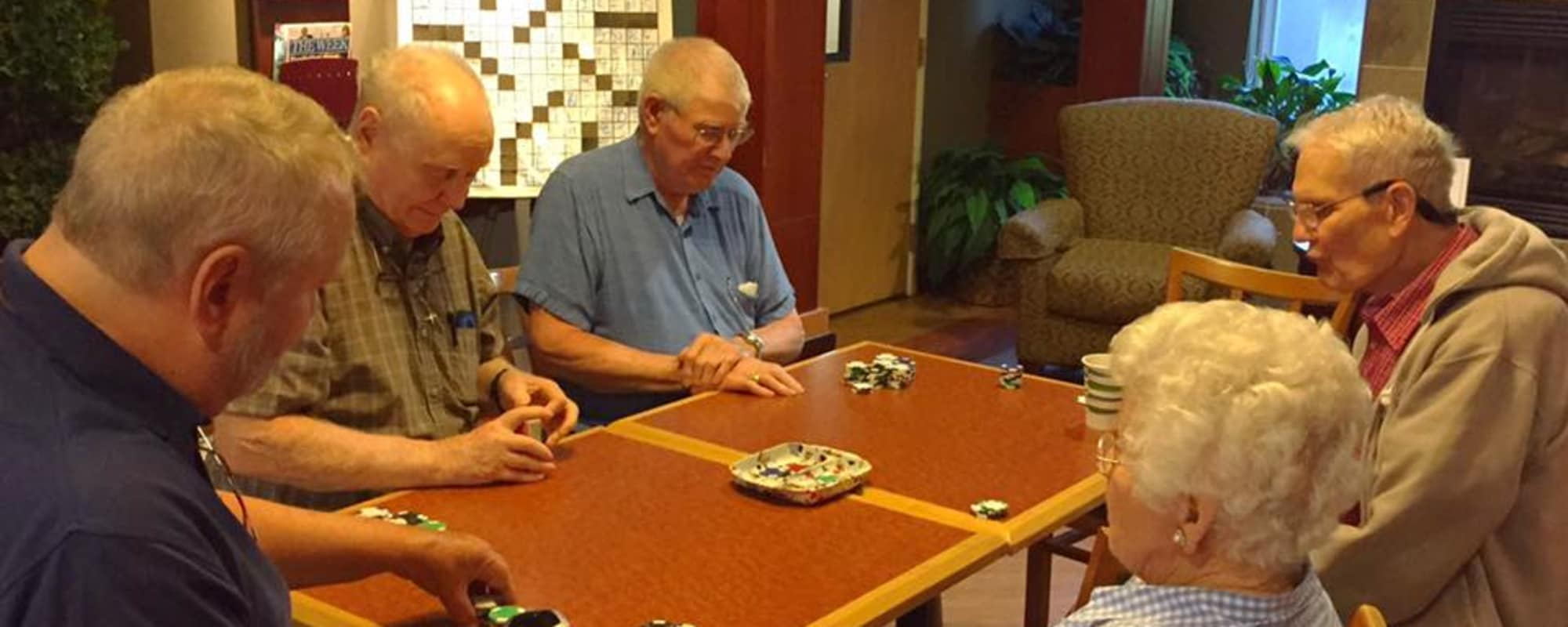Seniors playing games together at The Creekside in Woodinville, Washington