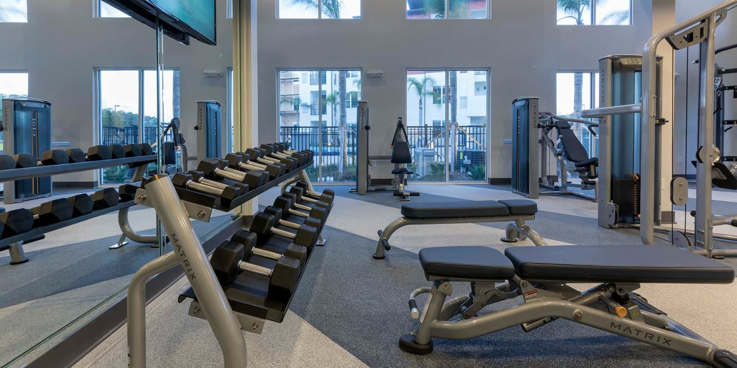 The fitness center at Ancora Apartments is fully equipped, and also includes an adjacent day care facility for the kids!