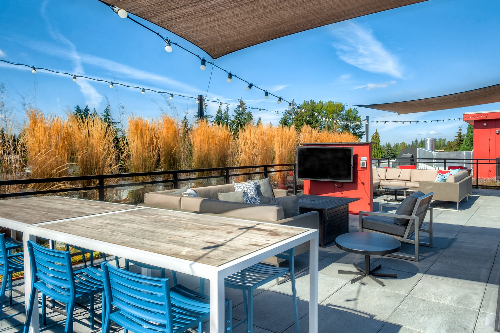 The rooftop lounge at Tria Apartments in Newcastle, Washington