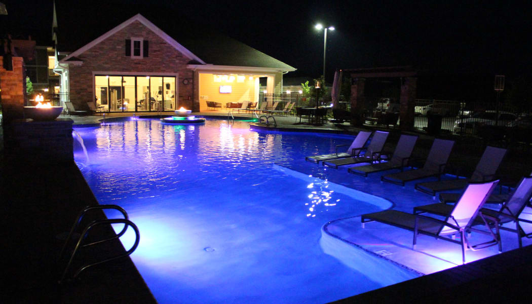 Swimming pool in the evening at Red Knot at Edinburgh in Chesapeake, Virginia
