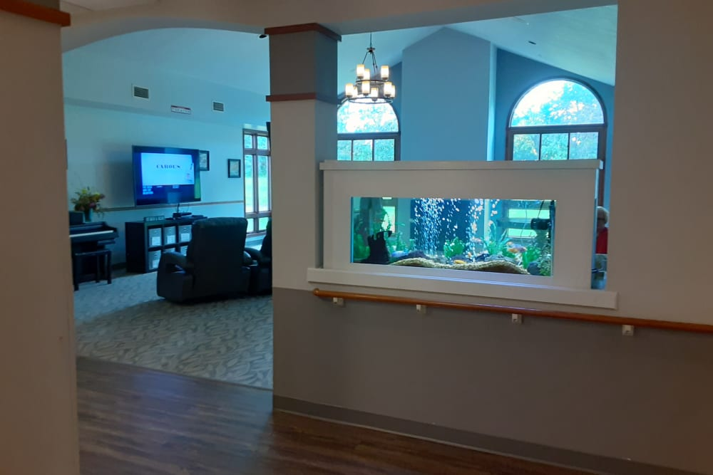 Entry to common sitting room with aquarium at The Atrium in Rockford, Illinois.