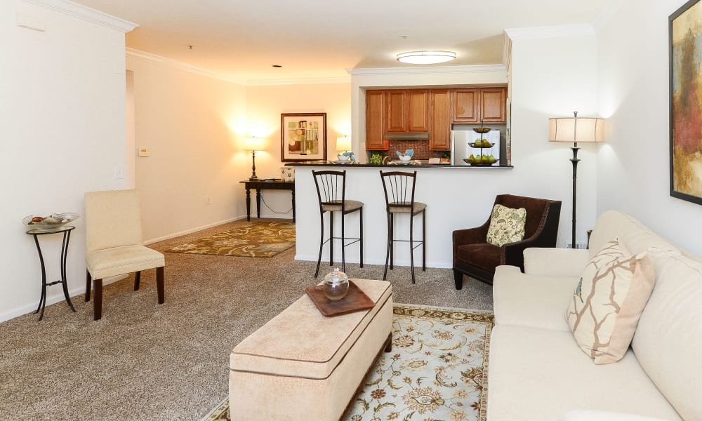 Bishop's View Apartments & Townhomes offers a living room in Cherry Hill, NJ