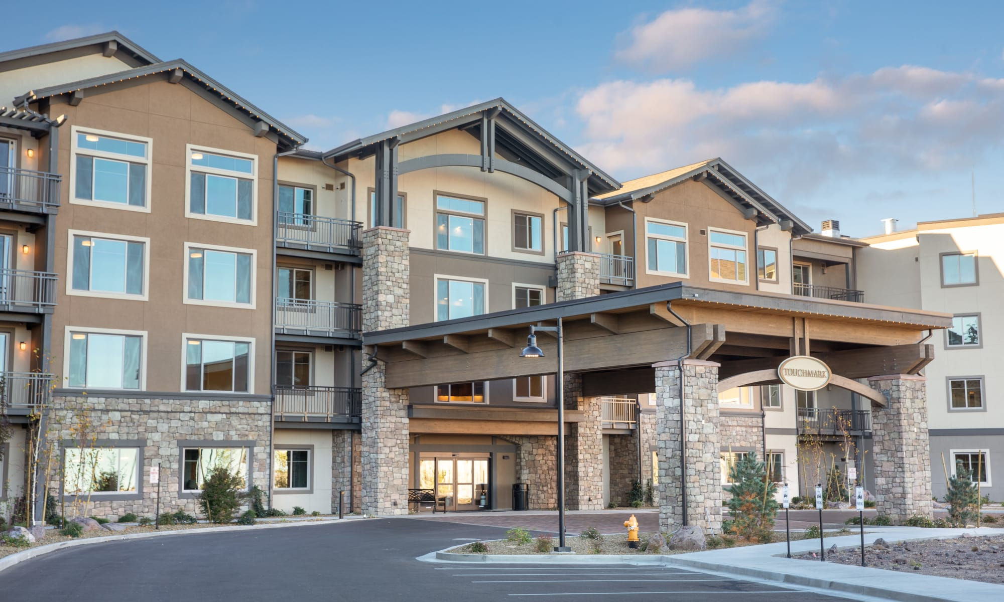 The building exterior and main entrance at Touchmark at The Ranch in Prescott, Arizona