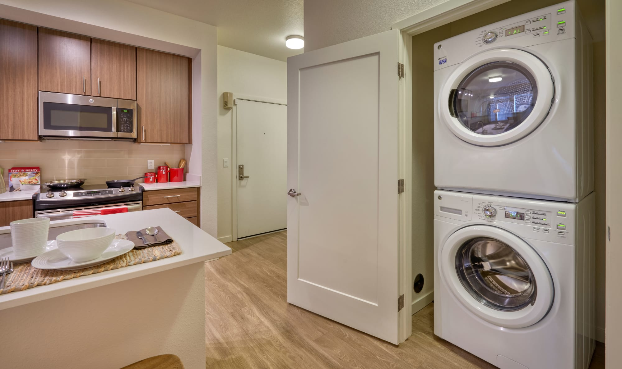 Washing Machine and Kitchen at Elevate in Englewood, Colorado