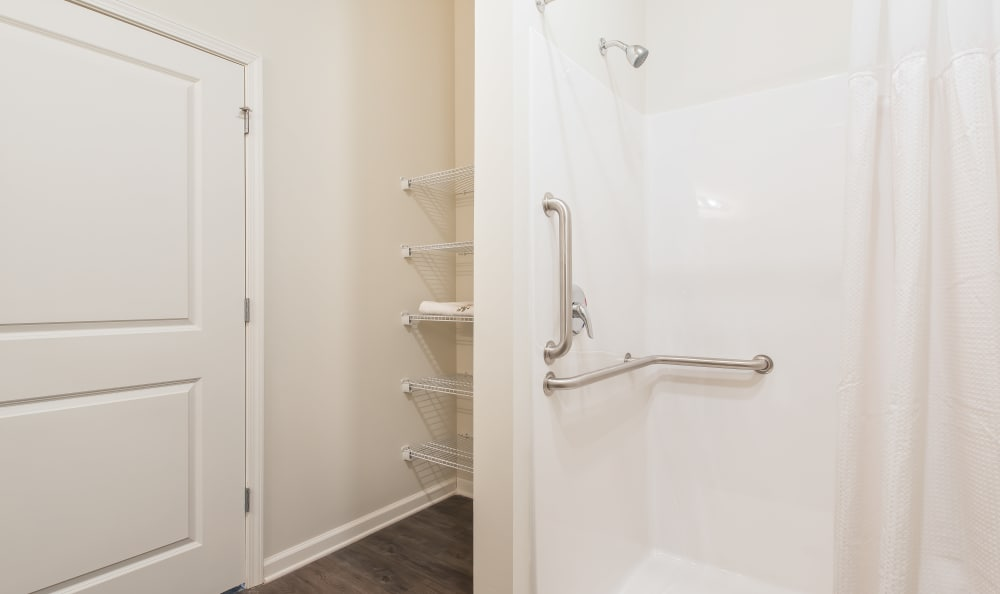 Storage space and shower at The Mansions at Alpharetta in Alpharetta, GA