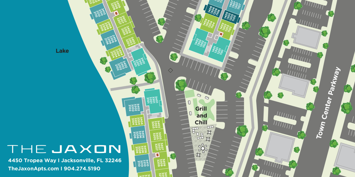 Sitemap of our property at The Jaxon in Jacksonville