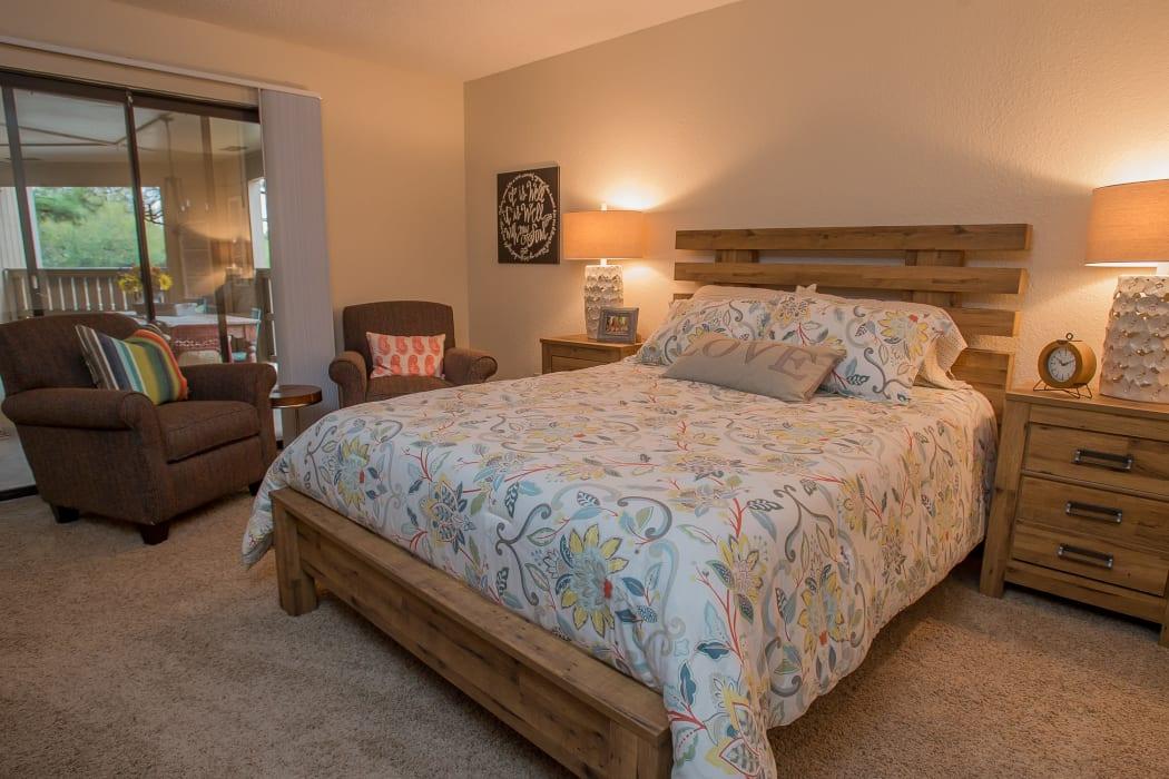 Bedroom at Woodscape Apartments in Oklahoma City, Oklahoma