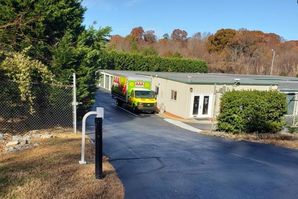 Driveway at AAA Self Storage at Pleasant Ridge Rd in Greensboro, North Carolina.