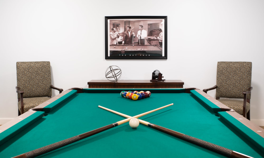 Billiards table at Serenity in East Peoria, Illinois