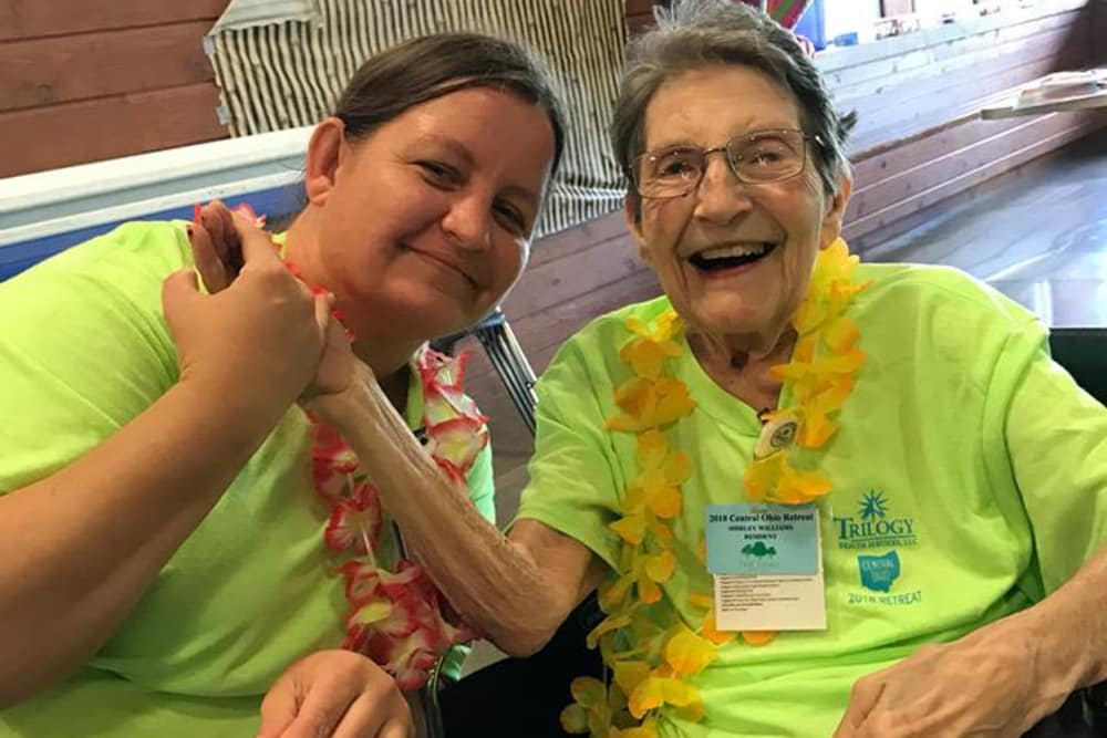 Residents dressed up for Hawaiian theme day at The Oaks at Bethesda in Zanesville, Ohio