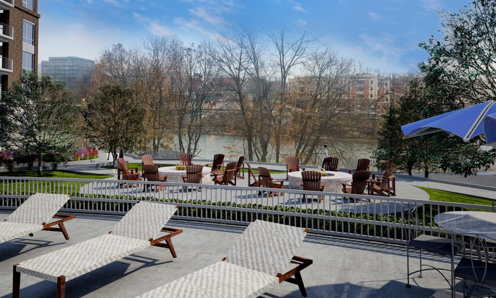 Beautiful patio at 50 Front Luxury Apartments in Binghamton, New York